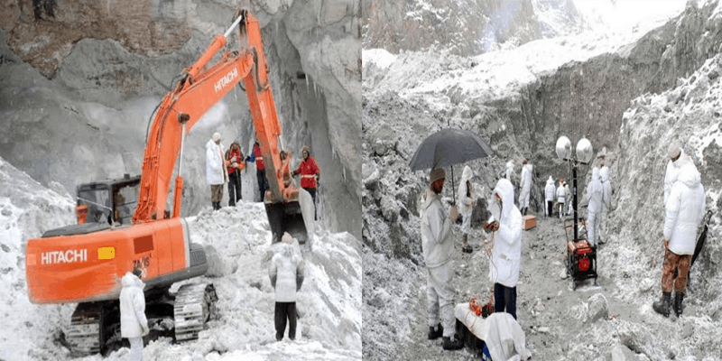 Relief work after the avalanche